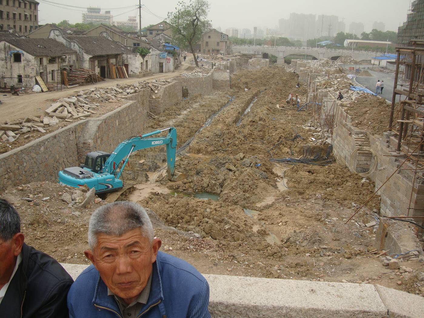 Picture:  looking East from the bridge and the canal is under construction.  Wuxi, China