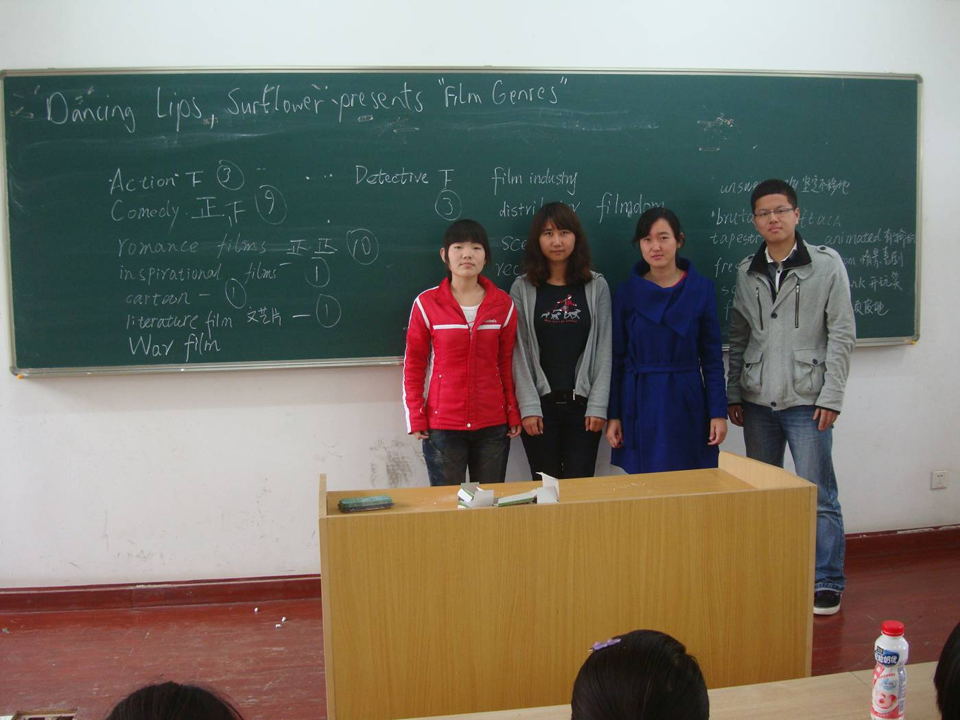 "Picture:  The class has named themselves ""Dancing Lips"".  This is the  group named ""Sunflowers"" in front of their presentation of ""Types of Movies"".  Jiangnan University, Wuxi, China"