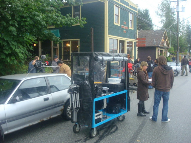 film crew setting up in front of Billy Miner pub,  Maple Ridge, B.C.,  Canada
