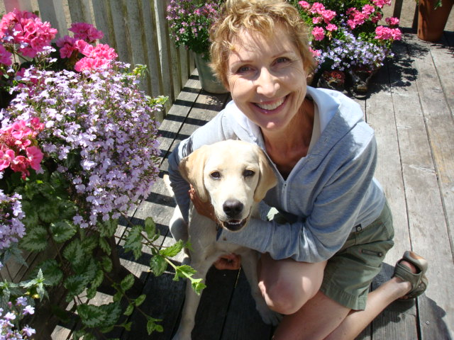 Goody Niosi with her golden lab,  Abby.  The new Queen of Cedar,  B.C.