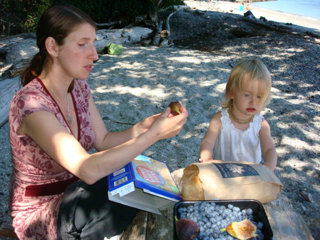 Picnic on the beach.  Saltspring Island,  B.C.