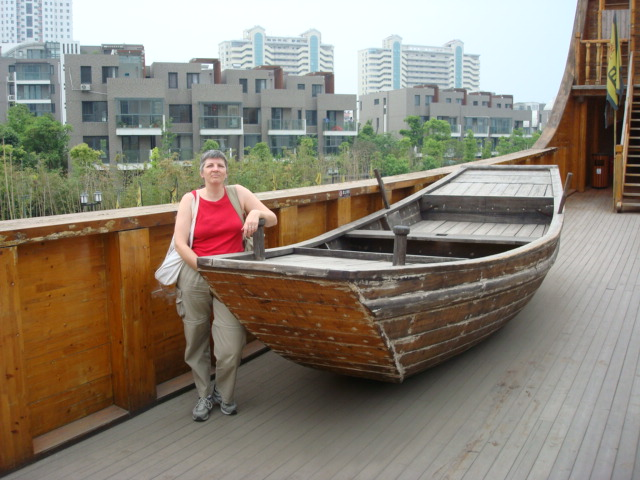 deck boat Zheng He treasure ship recreated in Nanjing,  China