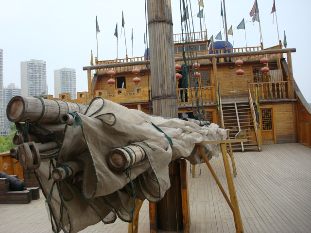 On the deck of Zheng He treasure ship recreated in Nanjing,  China