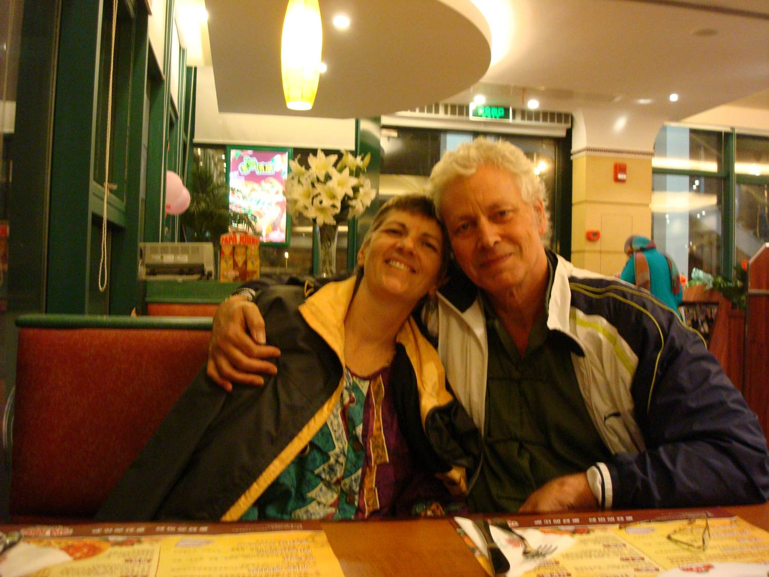 Ruth Anderson and David Scott at Papa Johns Pizza,  Wuxi,  China