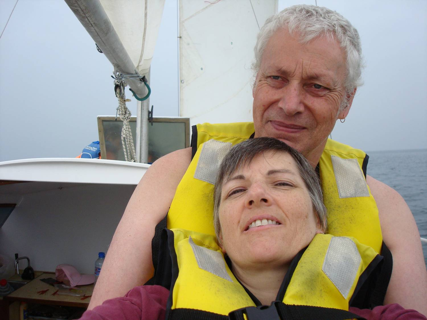 David Scott and Ruth Anderson sailing with Lyndon,  Weihai,  China