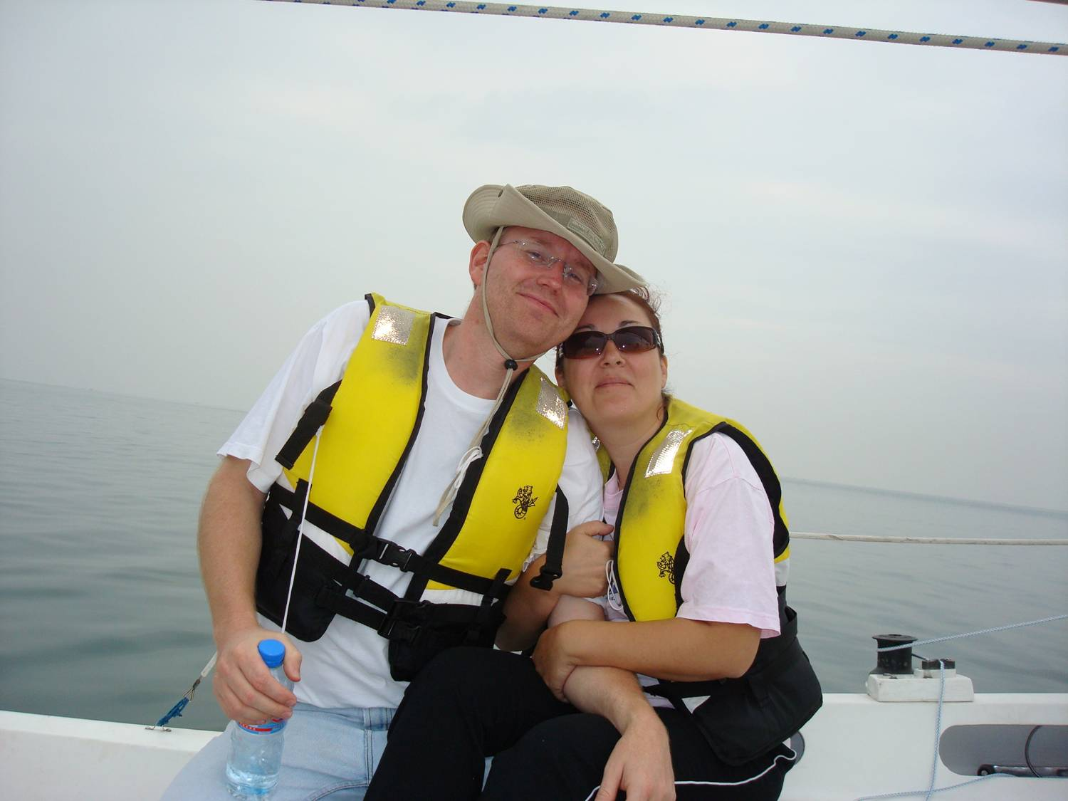 Thomas and Marina Cupples sailing with Lyndon,  Weihai,  China