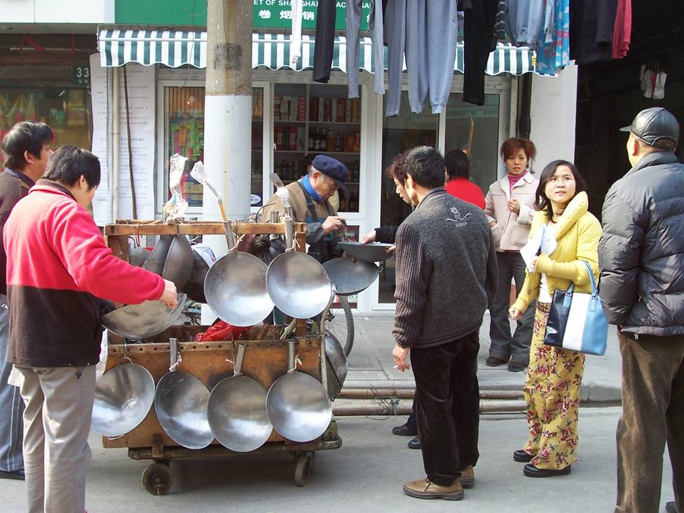woks for sale on the streets of Shanghai
