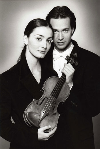 Picture: violinist Kai Gleusteen and his accompanist Catherine Ordronneau.  Making beautiful music together.