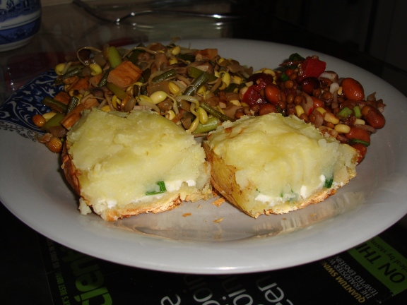 Picture: Baked potato with a cottage cheese stuffing.