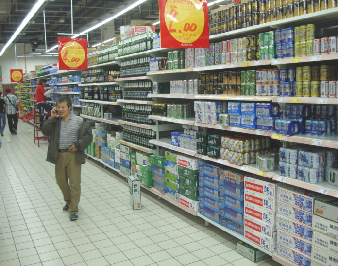 Picture: Auchan supermarket beer section.  The Chinese do love their beer.