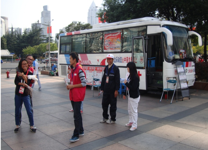 Picture:  Mobile blood donation in Shanghai, provided you are younger than fifty-five.