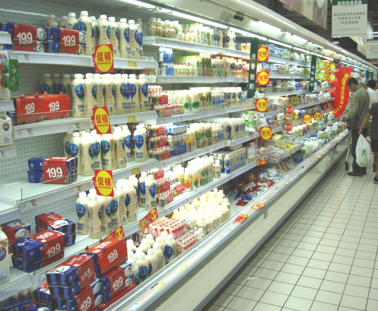 Picture: Auchan dairy section.  Very limited stock of cheeses and milk.