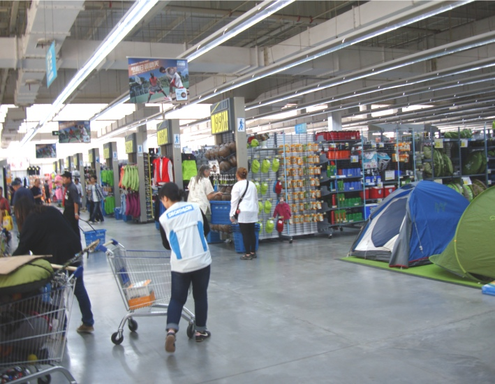Picture:  Inside Decathlon, a big box sports store in the New District.