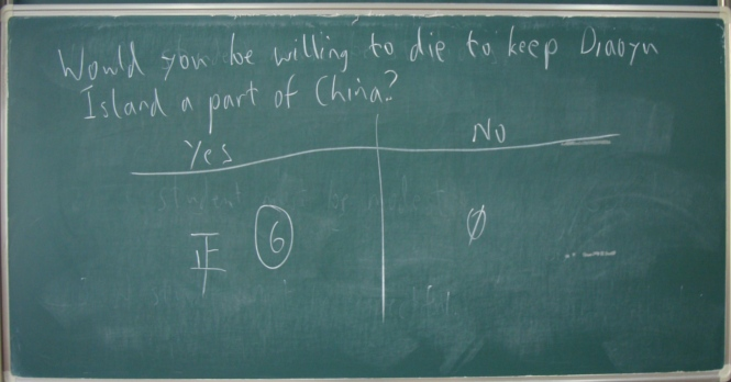 Diaoyu island vote.  No doubt it would please the leaders.