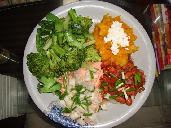 Picture:  Salmon and squash dinner with cottage cheese