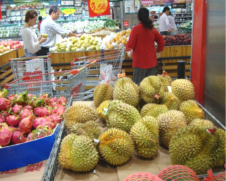 Picture:  Auchan durians
