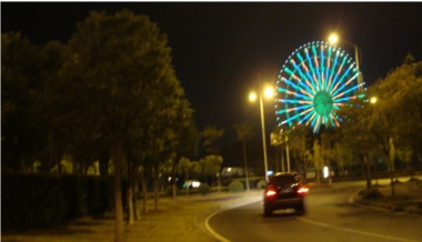 Picture: The big Ferris wheel at night just before Lihu Daqiao, the Lihu Big Bridge.