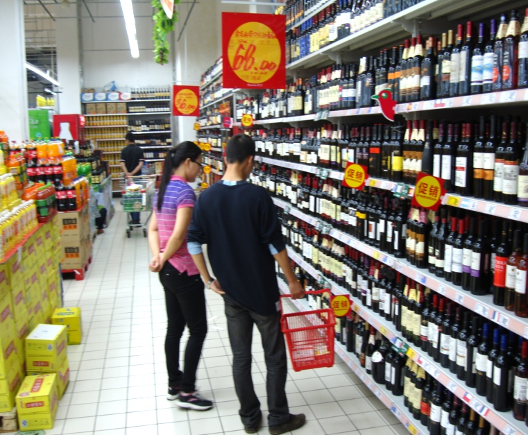 Picture: Auchan supermarket liquor section.