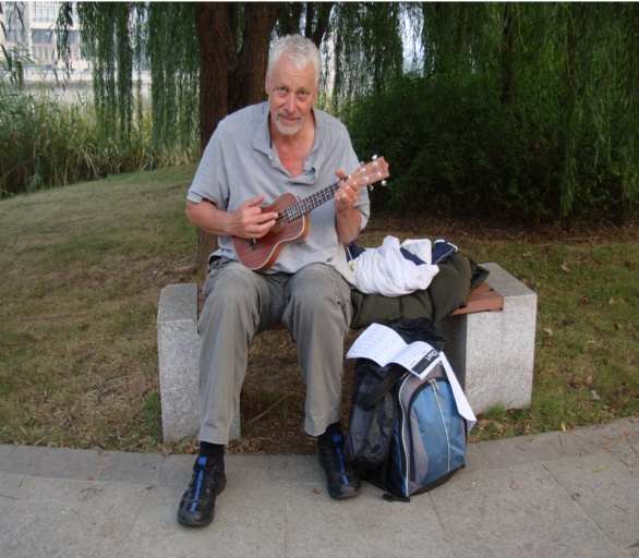 Picture: Ukulele practice on an unseasonably warm day at Jiangnan University.