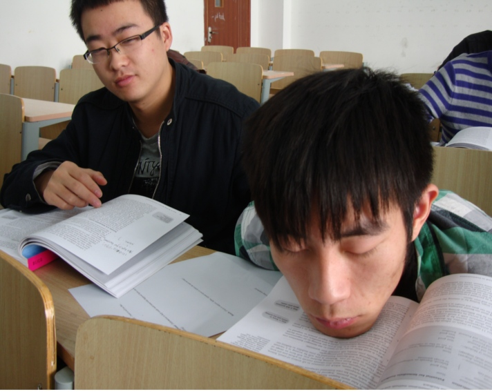 Picture:  This stident has had enough Engish for one morning.  My lecture is quite soporific.