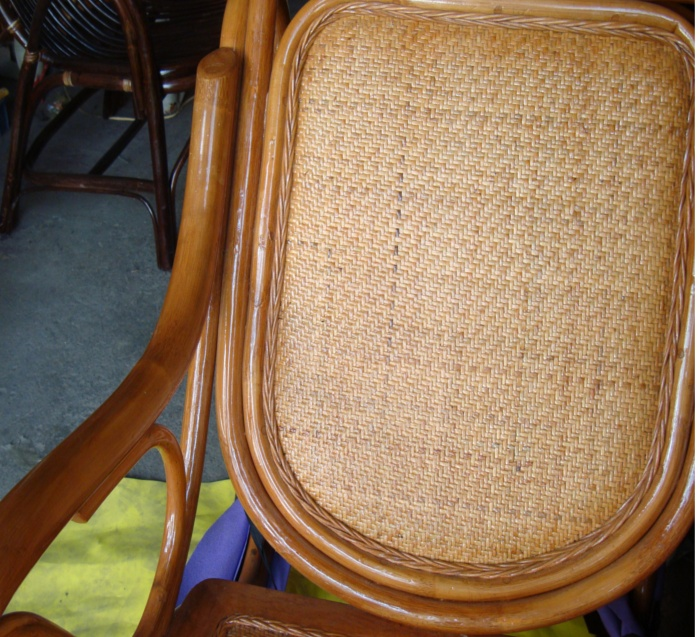 Picture: the back of a hand made wicker chair.  Wuxi, China