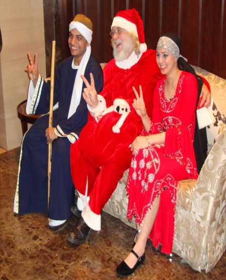 Picture: Our own Santa and visiting Egyptian entertainers at the Sheraton, Wuxi, China