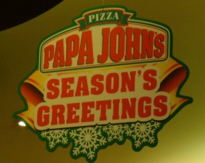 Picture: Seasons Greetings at Papa John's Pizza, the War on Christmas comes to China.