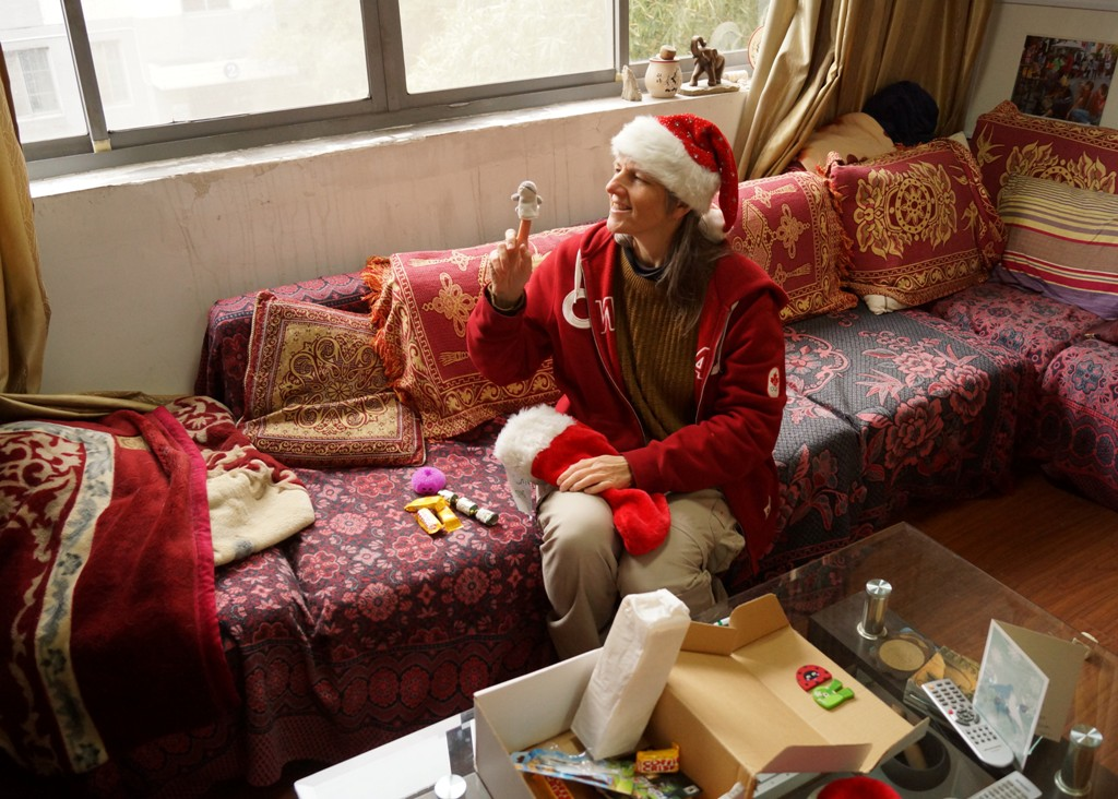 Picture:  Ruth surrounded by Christmas cheer thanks to DAR's Xmas package. Jiangnan University, Wuxi, China
