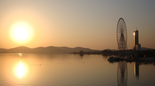 Picture: almost sunset as we rode our bikes over Lihu Daqiao.  Wuxi, China