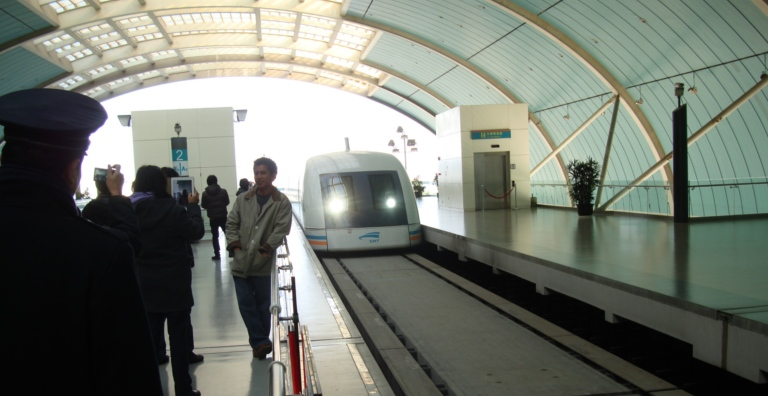 Picture: the Maglev slides into the station in Shanghai, China