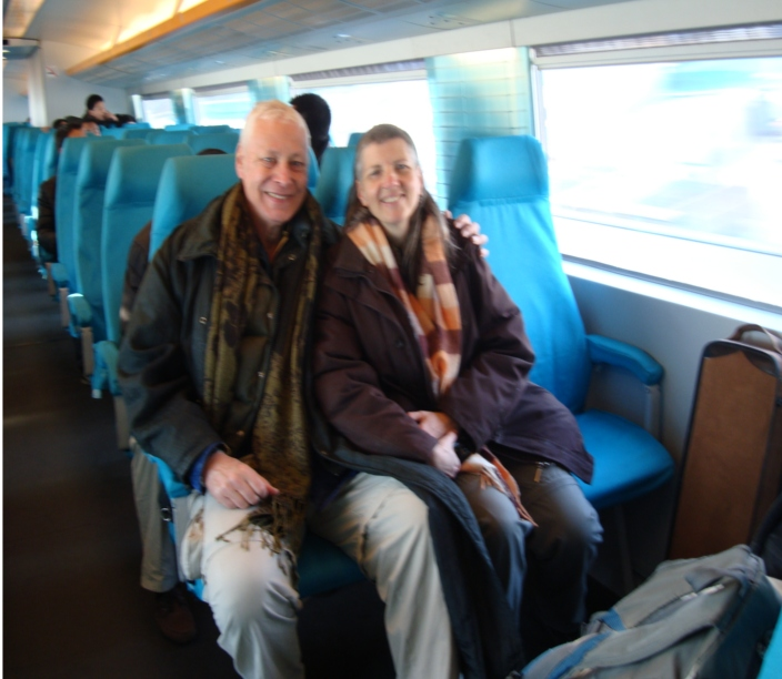 Picture:  David and Ruth on board the Maglev.  Out of focus because the amazing speed is causing a relativity effect.  Shanghai, China