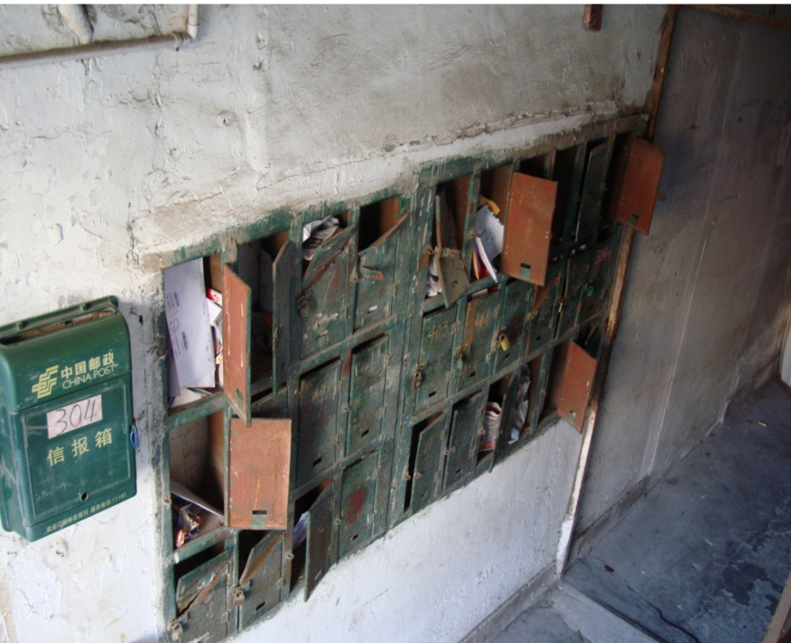Picture:  ancient mailboxes, most showing the result of lost keys or theft.  Wuxi, China