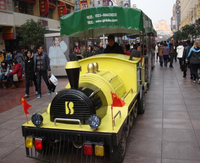 "Picture: The tourist ""train"" on Nan Jing Lu, Shanghai, China"