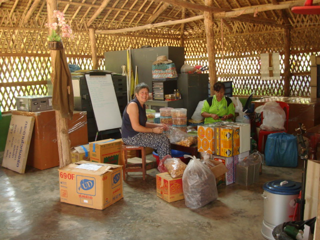 Picture: sorting through the snacks at Children of the Forest, Sangkhlaburi, Thailand