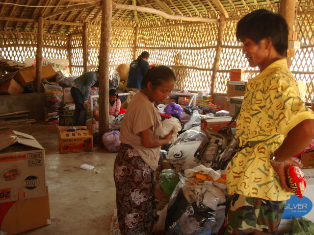 Picture:  Sorting a donation from Bangkok universdity students.  Children of the Forest, Sangkhlaburi, Thailand