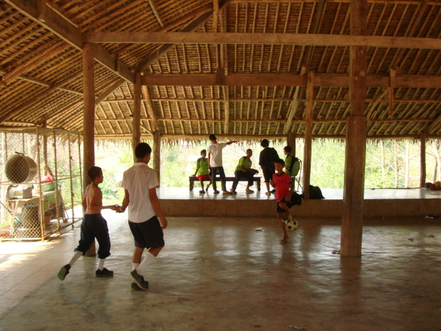 Picture:  The main assemply building, one of Naam's designs, at Children of the Forest, Sangkhlaburi, Thailand