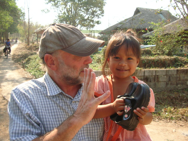 Picture: Tom and child at Children of the Forest school, Sangkhlaburi, Thailand
