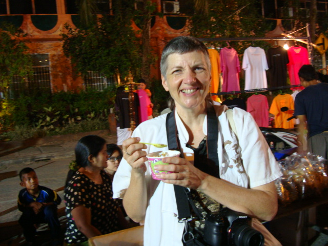 Picture: Ruth samples the home made icecream in the Sangkhlaburi night market, Thailand