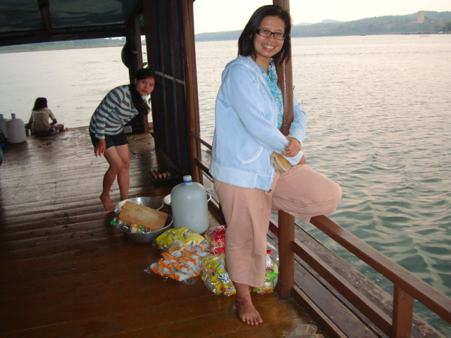 Picture: Naam on the party boat.  Sangkhlaburi, Thailand