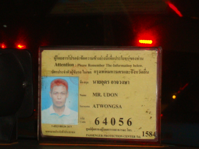 Picture: Cab driver's license, Bangkok, Thailand