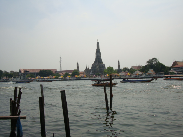 Picture: the view from our river side restaurant table in Bangkok, Thailand