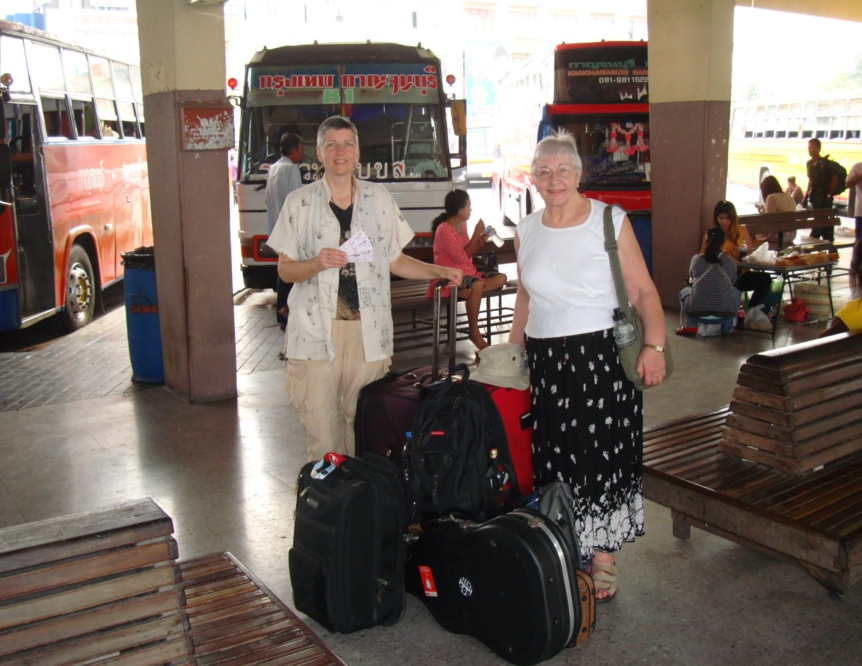 Picture: Ruth and Pat in the Kanchanaburi bus station. Thailand.