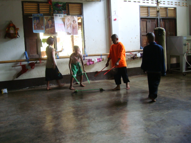 Picture: Ruth brought her crystal sticks for the kids to play with.  They were a hit. Baan Maa Naam, Sangkhlaburi, Thailand