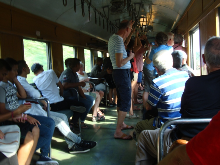 Picture: on board the train taking us back to Kanchanaburi, letting us off at the famous bridge over the River Kwai.