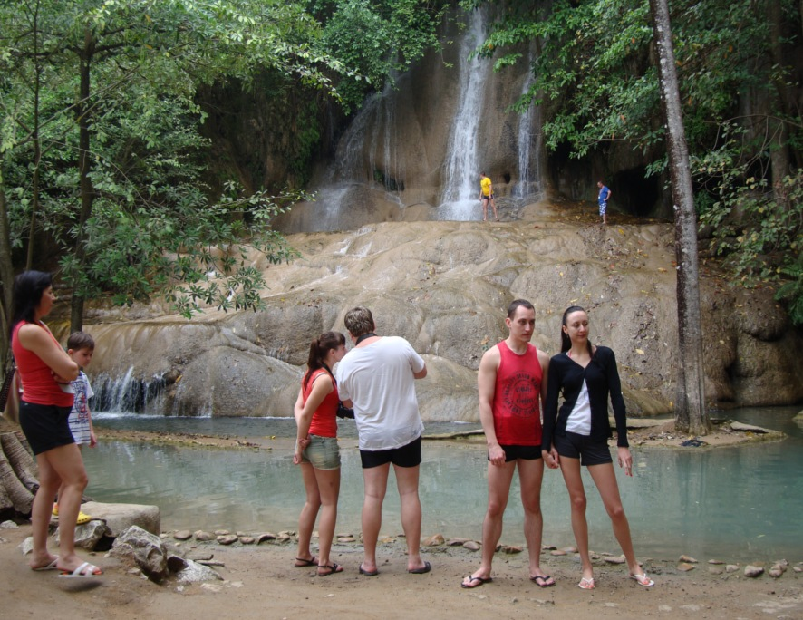 Picture: the tour started with a waterfall slightly crowded with Russian tourists.