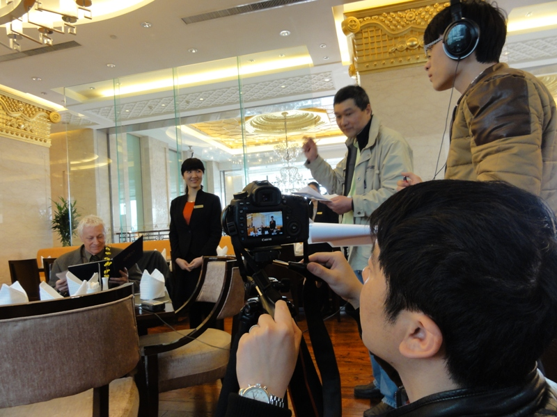 Picture:  Being an actor for a day at the Nikko hotel in downtown Wuxi, China