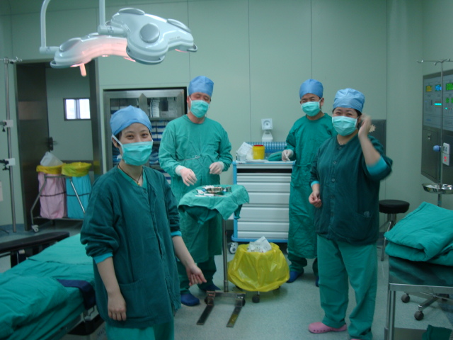 Picture:  my surgical team, less one person who ducked out before the picture, Number 2 hospital, Wuxi, China