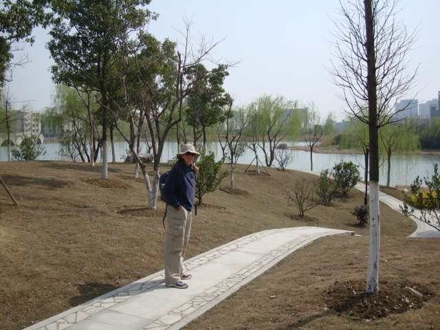Picture:  Ruth on the path on the ban dao, the campus peninsula park, Jiangnan University, Wuxi, China