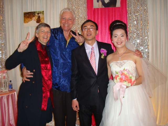Picture: Ruth and David with the wedding couple, Li Youfeng and Gu Xiaoyan, Wuxi Gloria Grand Hotel, Wuxi, China