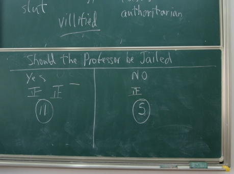 Picture:  the revised vote, once the question was understood.  One more in favour of jailing the professor.  Jiangnan University, Wuxi, China
